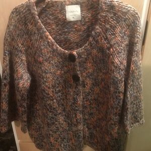 Relativity Sweater Button Snap Close Orange Brown